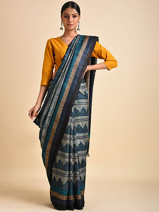 Blue-Black Block Printed Ghicha Tussar Silk Saree