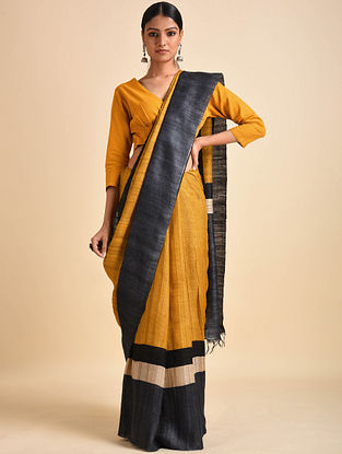 Yellow-Charcoal Block Printed Ghicha Tussar Silk Saree