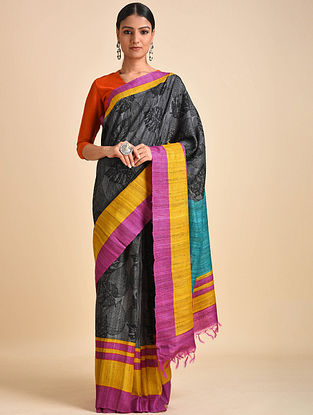 Black-Pink Block Printed Ghicha Tussar Silk Saree