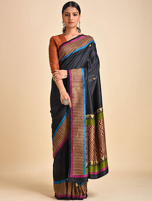 Black-Green Block Printed Ghicha Tussar Silk Saree