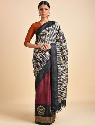 Black-Red Block Printed Ghicha Tussar Silk Saree