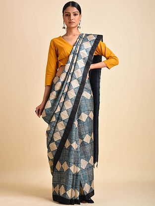 Blue-Beige Block Printed Ghicha Tussar Silk Saree