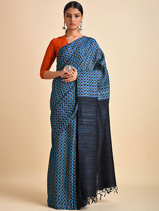Blue Block Printed Ghicha Tussar Silk Saree