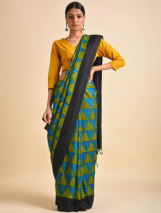 Green-Black Block Printed Ghicha Tussar Silk Saree