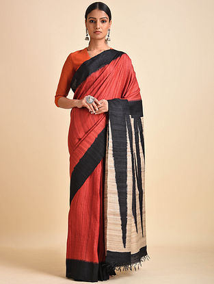 Red-Black Block Printed Ghicha Tussar Silk Saree