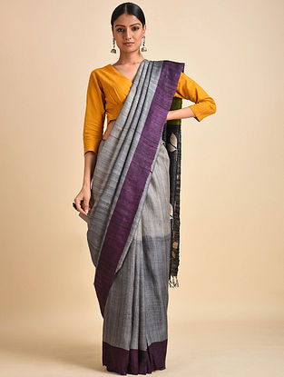 Grey-Purple Block Printed Ghicha Tussar Silk Saree
