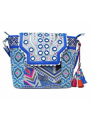 White-Blue Hand Block Printed and Embroidered Bucket Bag