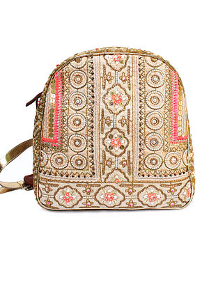 Beige-Pink Hand Block Printed and Embroidered Leather Backpack