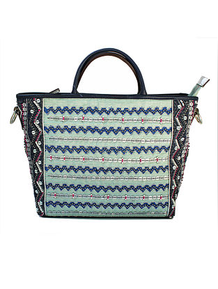 Blue-Black Hand Block Printed and Embroidered Leather Tote