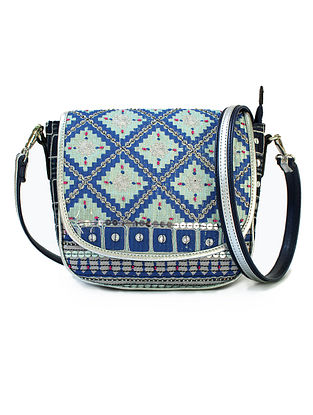 Blue Hand Block Printed and Embroidered Leather Sling Bag
