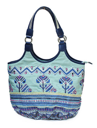 Blue Hand Block Printed and Embroidered Leather Tote