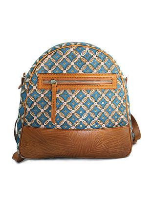 Blue Tan Handcrafted Canvas and Genuine Leather Backpack with Embellishments
