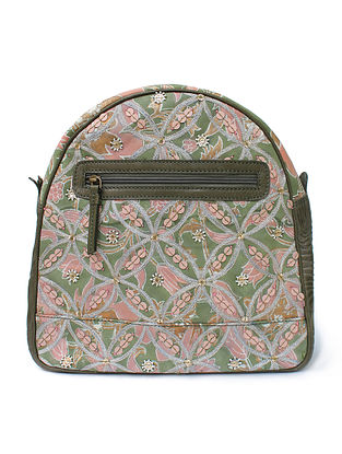 Olive Green Pink Handcrafted Canvas and Genuine Leather Backpack with Embellishments