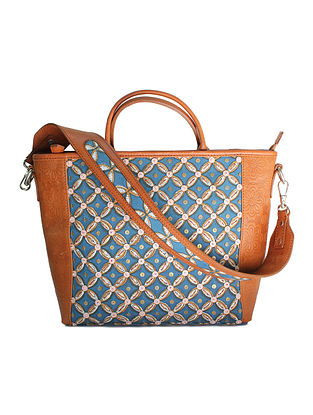 Blue Tan Handcrafted Canvas and Genuine Leather Tote Bag with Embellishments