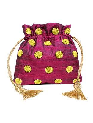 Purple Hand Embroidered Raw Silk Potli