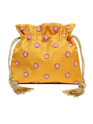 Mustard Hand Embroidered Raw Silk Potli