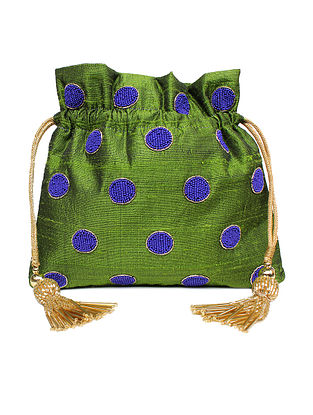 Green Hand Embroidered Raw Silk Potli