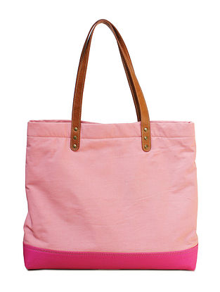 Pink Color Block Printed Canvas Tote Bag