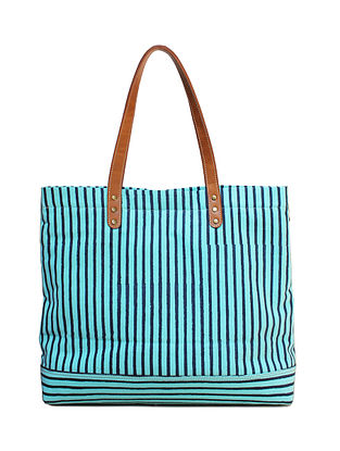 Mint Green Hand Block Printed Canvas Tote Bag