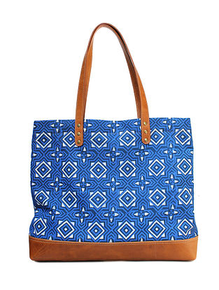 Blue Hand Block Printed Canvas Tote Bag