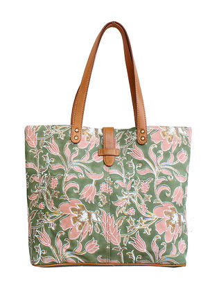 Olive Green Hand Block Printed Canvas Tote Bag