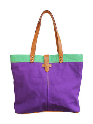 Purple Green Color Block Printed Canvas Tote Bag