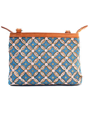 Blue Hand Block Printed Canvas Sling Bag