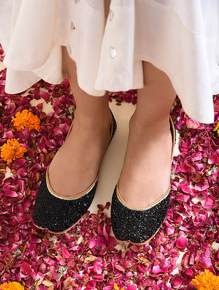 Black Handcrafted Beaded Juttis with Cutdana