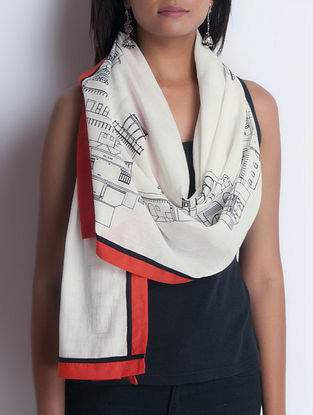 Ivory-Orange Screen Printed Cotton Stole by Neemrana