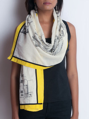 Ivory-Yellow Screen Printed Cotton Stole by Neemrana