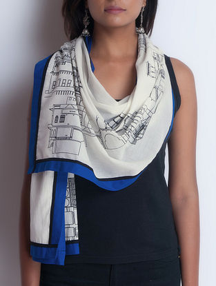Ivory-Blue Screen Printed Cotton Stole by Neemrana