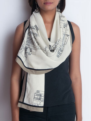 Ivory-Taupe Screen Printed Cotton Stole by Neemrana