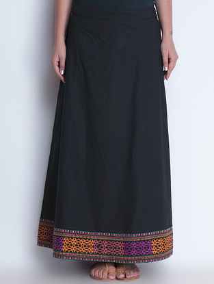 Black Embroidered Elasticated Waist Cotton Skirt by Neemrana