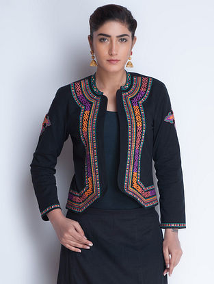 Black Embroidered Cotton Jacket by Neemrana
