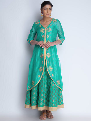 Green-Golden Zari Embroidered Chanderi Jacket and Brocade Georgette Dress Set of 2 by Neemrana