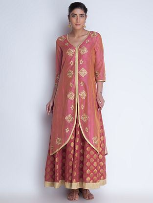 Coral-Golden Zari Embroidered Chanderi Jacket and Brocade Georgette Dress Set of 2 by Neemrana