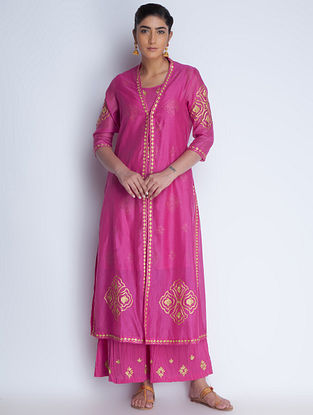 Fuschia-Golden Zari Embroidered Chanderi Jacket with Cotton Kurta & Crinkled Cotton Palazzos Set of 3 by Neemrana