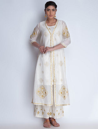 Cream-Golden Zari Embroidered Chanderi Jacket with Cotton Kurta & Crinkled Cotton Palazzos Set of 3 by Neemrana