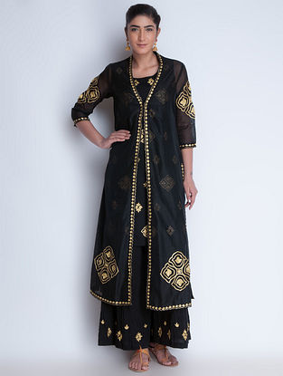 Black-Golden Zari Embroidered Chanderi Jacket with Cotton Kurta & Crinkled Cotton Palazzos Set of 3 by Neemrana