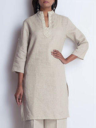 Beige Embroidered Linen Kurta by Neemrana
