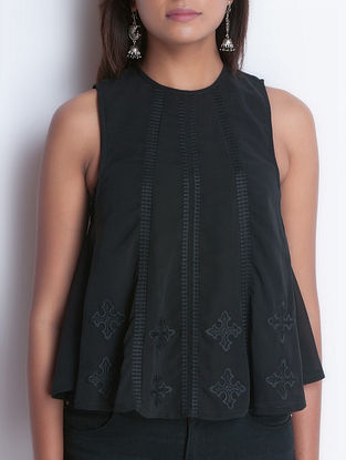 Black Embroidered Sleeveless Georgette Top by Neemrana