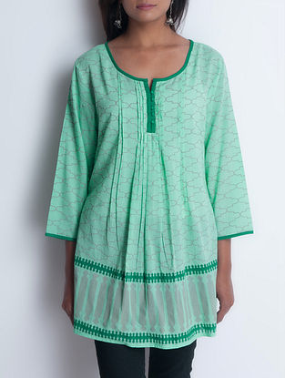 Green Hand Block Printed Pintuck Detailed Cotton Tunic by Neemrana