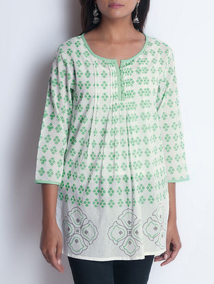 Ivory-Green Hand Block Printed Pintuck Detailed Cotton Tunic by Neemrana