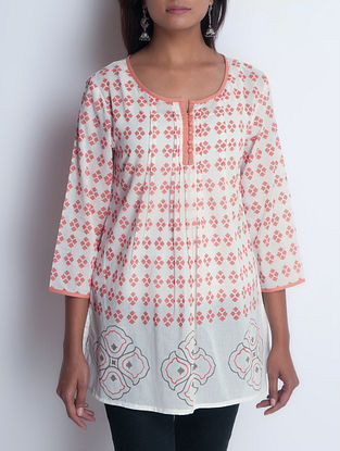 Ivory-Orange Hand Block Printed Pintuck Detailed Cotton Tunic by Neemrana