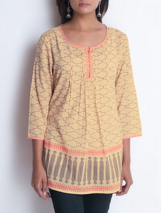 Beige Hand Block Printed Pintuck Detailed Cotton Tunic by Neemrana