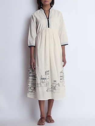 Ivory-Black Screen Printed Dress by Neemrana