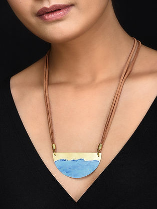 Blue Gold Tone Handcrafted Brass Pendant Necklace