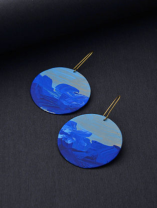 Blue Gold Tone Handcrafted Brass Earrings