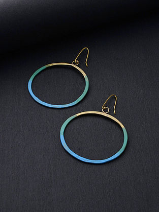 Blue Gold Tone Handcrafted Brass Hoops