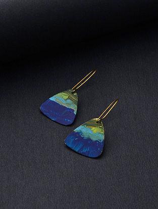 Blue-Green Gold Tone Brass Handcrafted Earrings